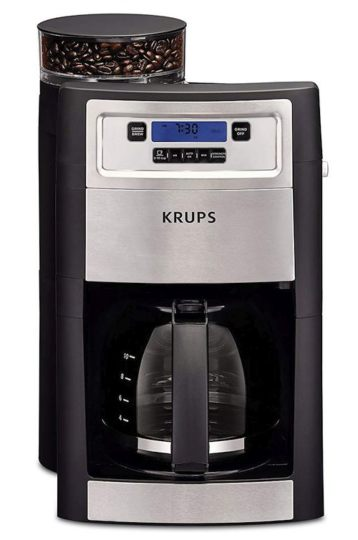 Best Drip Coffee Makers - KRUPS Grind and Brew Auto-start Coffee Maker with Builtin Burr Coffee Grinder