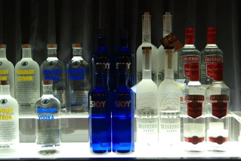 Assorted vodka bottles