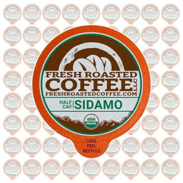 Fresh Roasted Coffee LLC Half Caf Organic Ethiopian Sidamo Coffee Pods