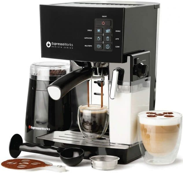EspressoWorks 10 Pc All-In-One Espresso Machine & Cappuccino Maker